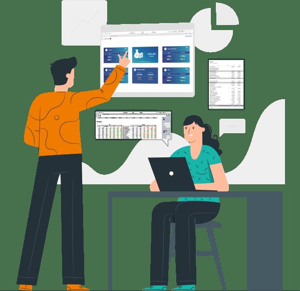 Mann und Frau analysieren bericht von finanzen quadrat dashboard und tabelle