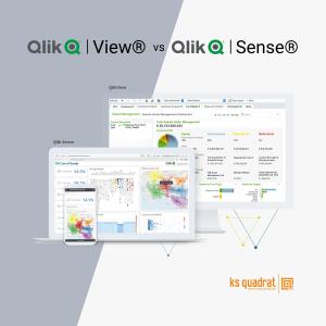 Qlik View und Qlik Sense Dashboards werden auf dem Laptop angezeigt